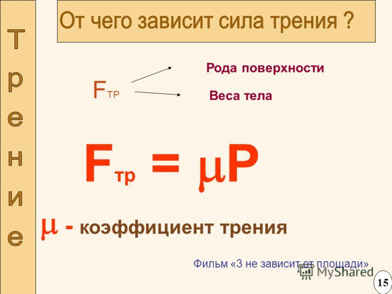 Фильм «3 не зависит от площади» F ТР Рода поверхности Веса тела F тр = P - коэффициент трения 15