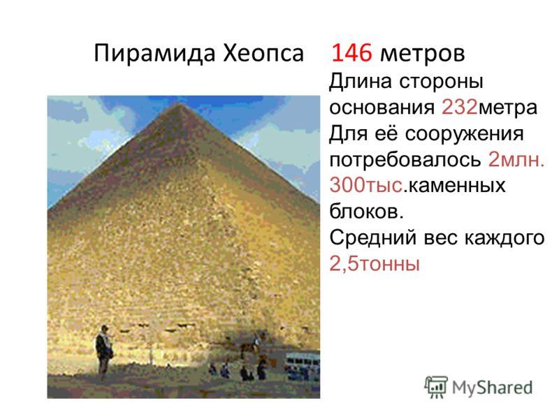Пирамида Хеопса 146 метров Длина стороны основания 232метра Для её сооружения потребовалось 2млн. 300тыс.каменных блоков. Средний вес каждого 2,5тонны