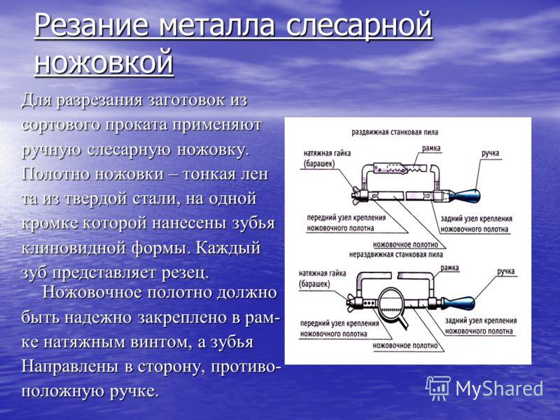 Темы презентации : Резанье металла слесарной ножовкой Рубка металла