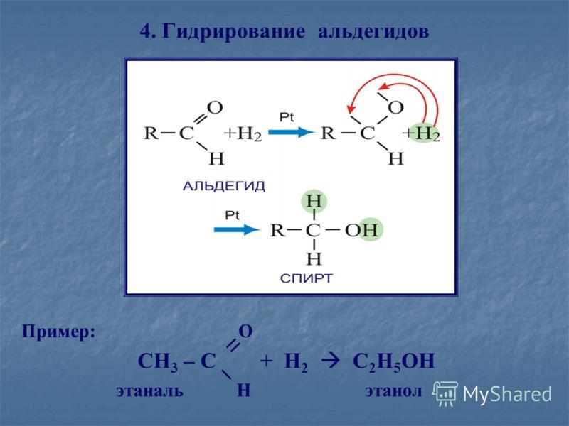 4. Гидрирование альдегидов Пример: O CH 3 – C + H 2 C 2 H 5 OH этаналь H этанол