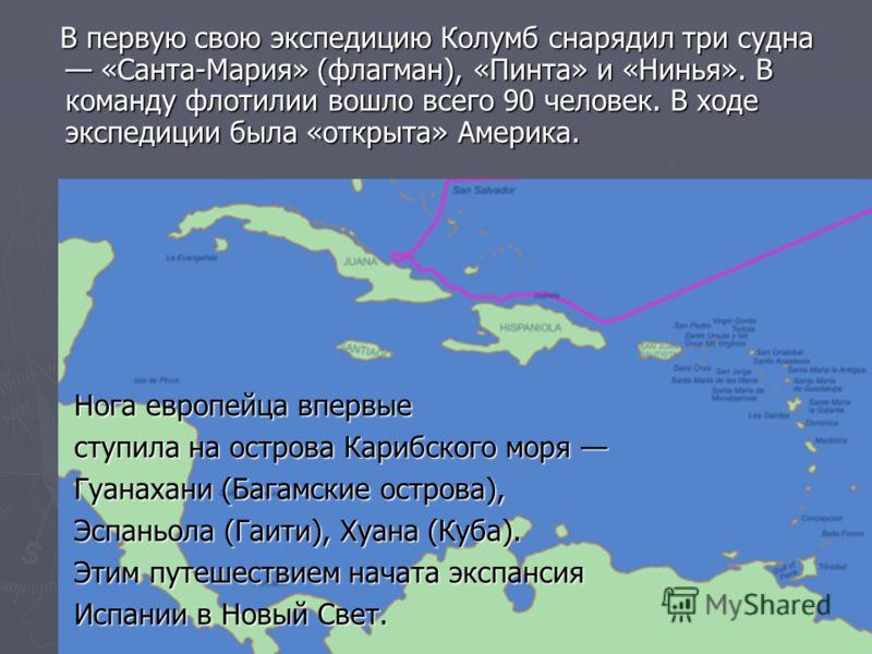 В первую свою экспедицию Колумб снарядил три судна «Санта-Мария» (флагман), «Пинта» и «Нинья». В команду флотилии вошло всего 90 человек. В ходе экспедиции была «открыта» Америка. В первую свою экспедицию Колумб снарядил три судна «Санта-Мария» (флаг
