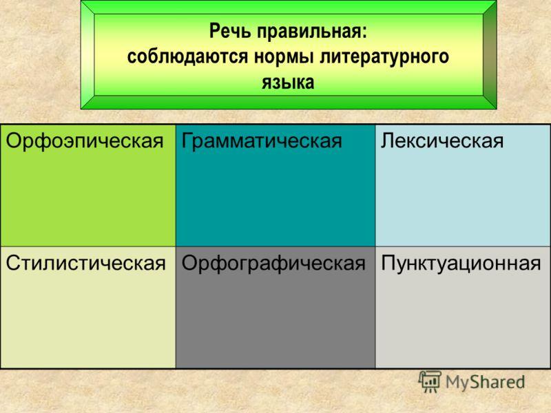 Речь правильная: соблюдаются нормы литературного языка ОрфоэпическаяГрамматическаяЛексическая СтилистическаяОрфографическаяПунктуационная