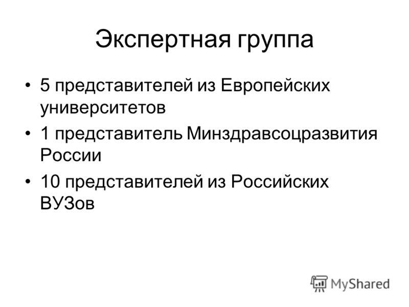 Экспертная группа 5 представителей из Европейских университетов 1 представитель Минздравсоцразвития России 10 представителей из Российских ВУЗов