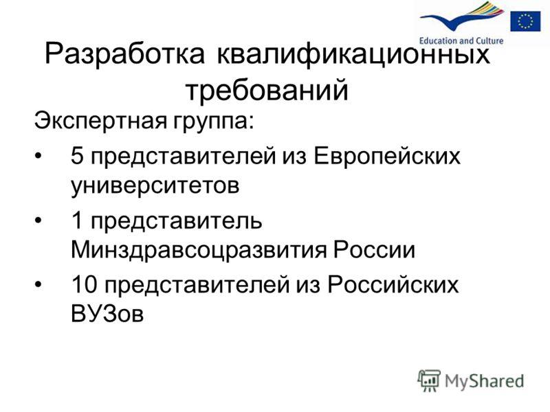 Разработка квалификационных требований Экспертная группа: 5 представителей из Европейских университетов 1 представитель Минздравсоцразвития России 10 представителей из Российских ВУЗов