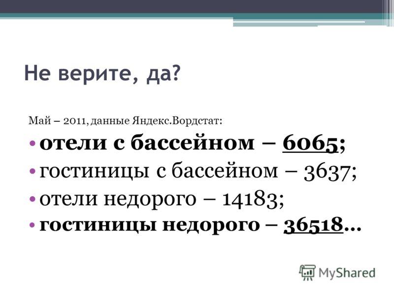 Не верите, да? Май – 2011, данные Яндекс.Вордстат: отели с бассейном – 6065; гостиницы с бассейном – 3637; отели недорого – 14183; гостиницы недорого – 36518…