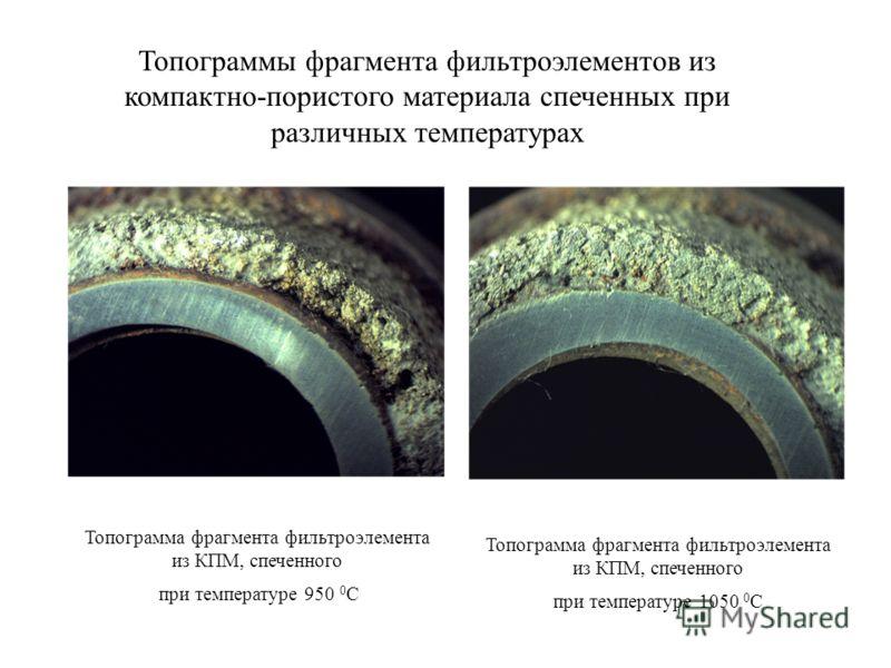 Топограмма фрагмента фильтроэлемента из КПМ, спеченного при температуре 950 0 С Топограмма фрагмента фильтроэлемента из КПМ, спеченного при температуре 1050 0 С Топограммы фрагмента фильтроэлементов из компактно-пористого материала спеченных при разл