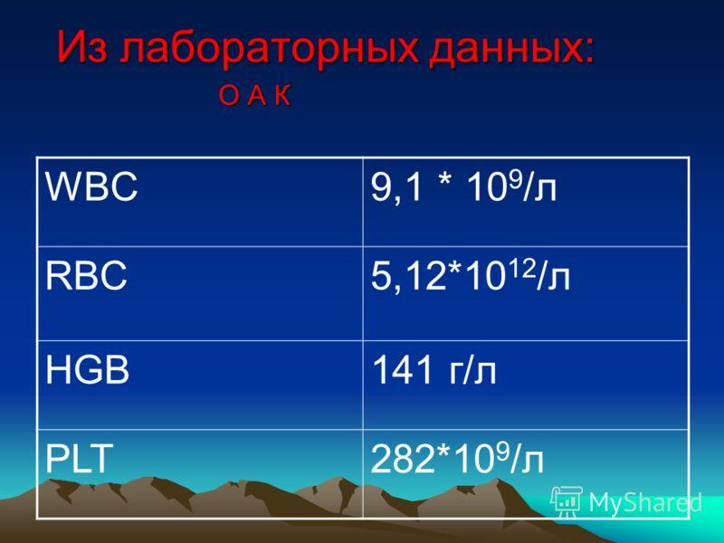Из лабораторных данных: WBC9,1 * 10 9 /л RBC5,12*10 12 /л HGB141 г/л PLT282*10 9 /л О А К
