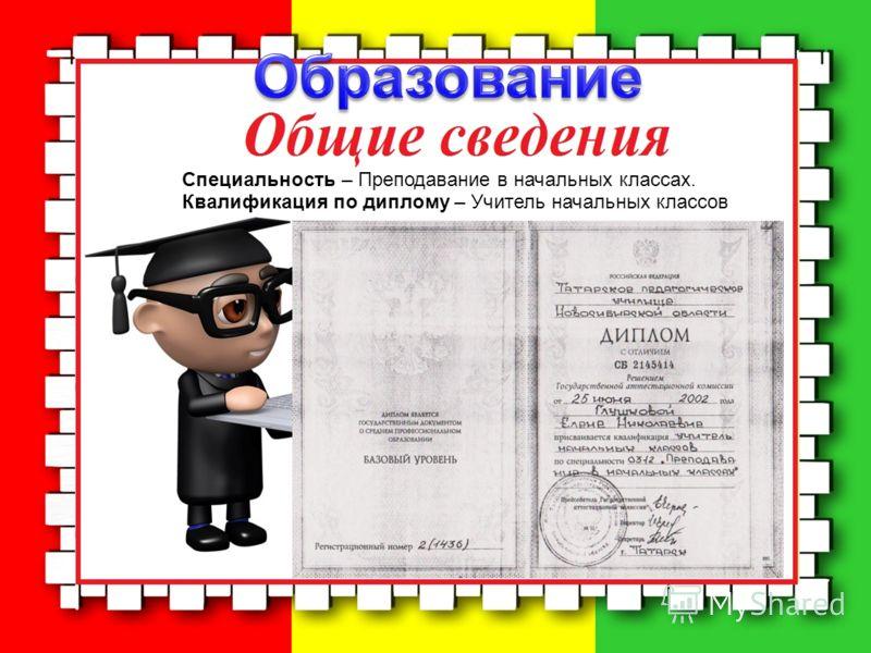 Специальность – Преподавание в начальных классах. Квалификация по диплому – Учитель начальных классов