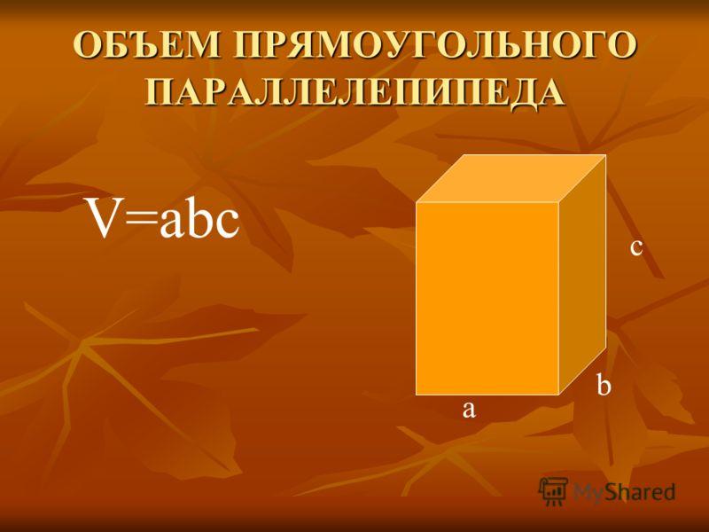 ОБЪЕМ ПРЯМОУГОЛЬНОГО ПАРАЛЛЕЛЕПИПЕДА а b c V=abc