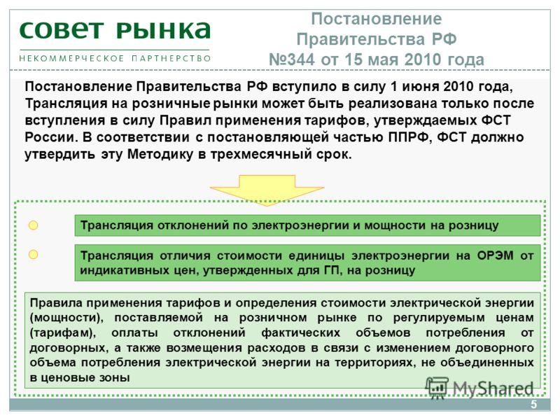Постановление Правительства РФ 344 от 15 мая 2010 года Трансляция отклонений по электроэнергии и мощности на розницу Трансляция отличия стоимости единицы электроэнергии на ОРЭМ от индикативных цен, утвержденных для ГП, на розницу Постановление Правит