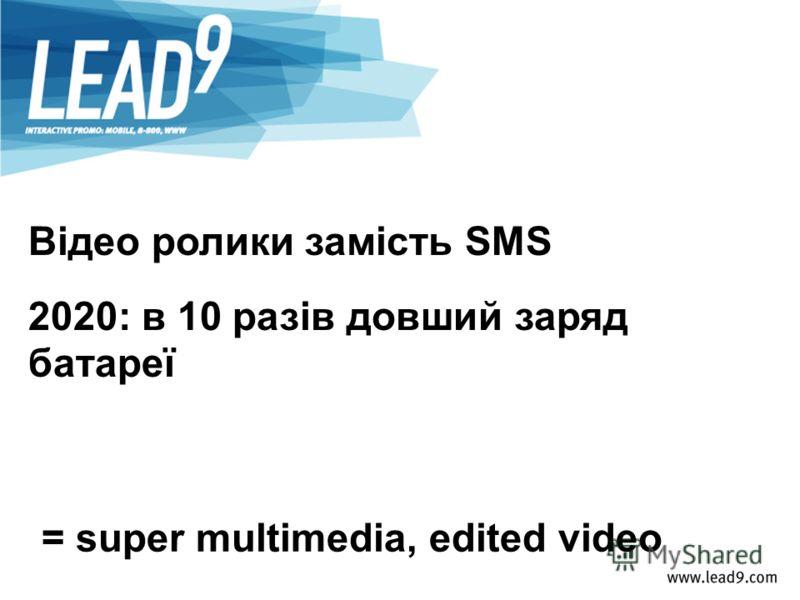 Відео ролики замість SMS 2020: в 10 разів довший заряд батареї = super multimedia, edited video