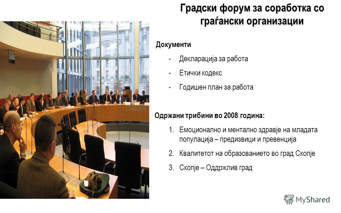 Градски форум за соработка со граѓански организации - Членови (двегодишен мандат): Градоначалник на Град Скопје Комисија за соработка со општините и здруженијата на граѓани на Советот на Град Скопје Градската администрација Граѓанските организации (п