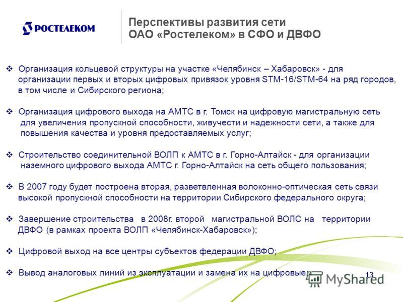 13 Перспективы развития сети ОАО «Ростелеком» в СФО и ДВФО Организация кольцевой структуры на участке «Челябинск – Хабаровск» - для организации первых и вторых цифровых привязок уровня STM-16/STM-64 на ряд городов, в том числе и Сибирского региона; О