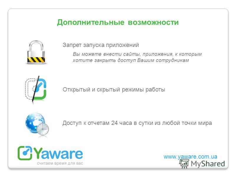 www.yaware.com.ua Запрет запуска приложений Вы можете внести сайты, приложения, к которым хотите закрыть доступ Вашим сотрудникам Открытый и скрытый режимы работы Доступ к отчетам 24 часа в сутки из любой точки мира Дополнительные возможности