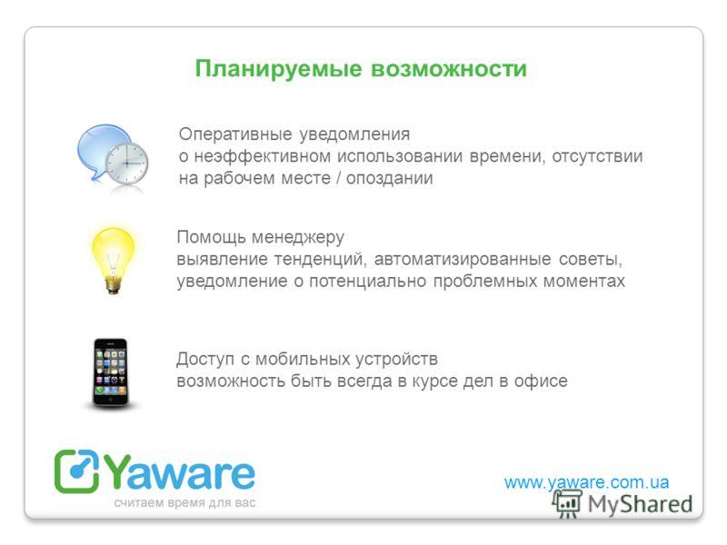 www.yaware.com.ua Оперативные уведомления о неэффективном использовании времени, отсутствии на рабочем месте / опоздании Помощь менеджеру выявление тенденций, автоматизированные советы, уведомление о потенциально проблемных моментах Доступ с мобильны