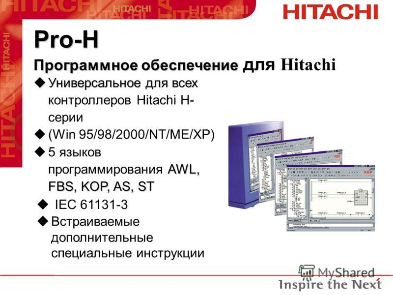 Pro-H Программное обеспечение Pro-H Программное обеспечение для Hitachi uУниверсальное для всех uУниверсальное для всех контроллеров Hitachi H- серии u(Win 95/98/2000/NT/ME/XP) AWL, FBS, KOP, AS, ST u5 языков программирования AWL, FBS, KOP, AS, ST u