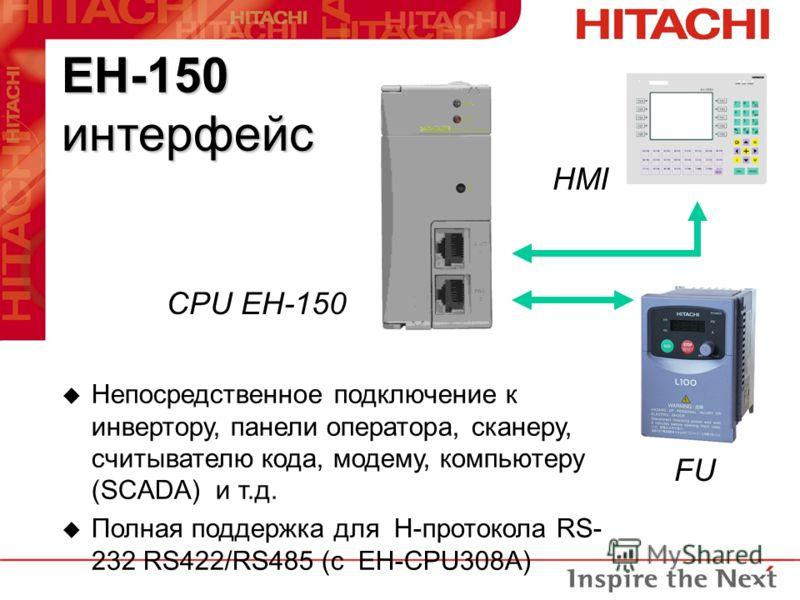 EH-150 интерфейс CPU EH-150 FU HMI u Непосредственное подключение к инвертору, панели оператора, сканеру, считывателю кода, модему, компьютеру (SCADA) и т.д. u Полная поддержка для H-протокола RS- 232 RS422/RS485 (с EH-CPU308A)