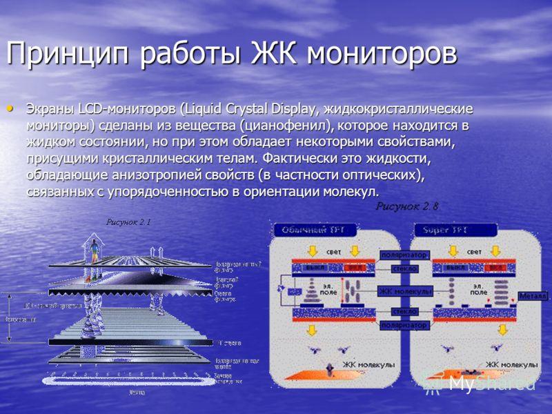 Принцип работы ЖК мониторов Экраны LCD-мониторов (Liquid Crystal Display, жидкокристаллические мониторы) сделаны из вещества (цианофенил), которое находится в жидком состоянии, но при этом обладает некоторыми свойствами, присущими кристаллическим тел