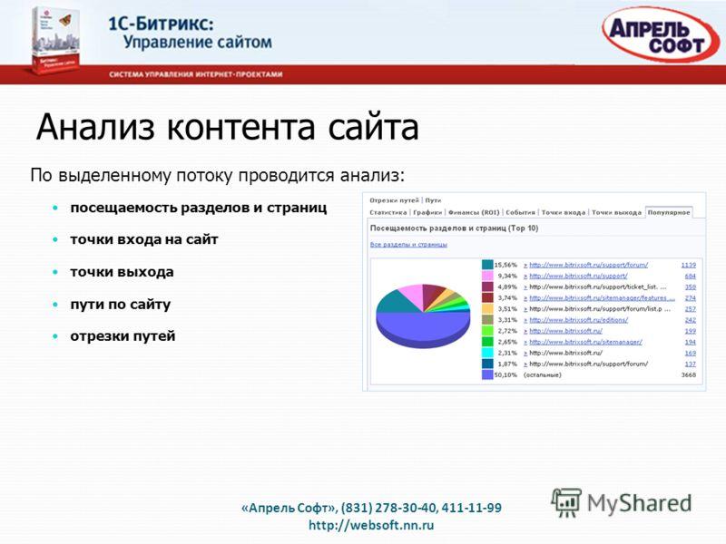Анализ контента сайта «Апрель Софт», (831) 278-30-40, 411-11-99 http://websoft.nn.ru По выделенному потоку проводится анализ: посещаемость разделов и страниц точки входа на сайт точки выхода пути по сайту отрезки путей