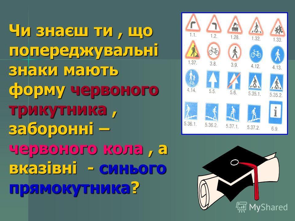 Чи знаєш ти, що попереджувальні знаки мають форму червоного трикутника, заборонні – червоного кола, а вказівні - синього прямокутника?