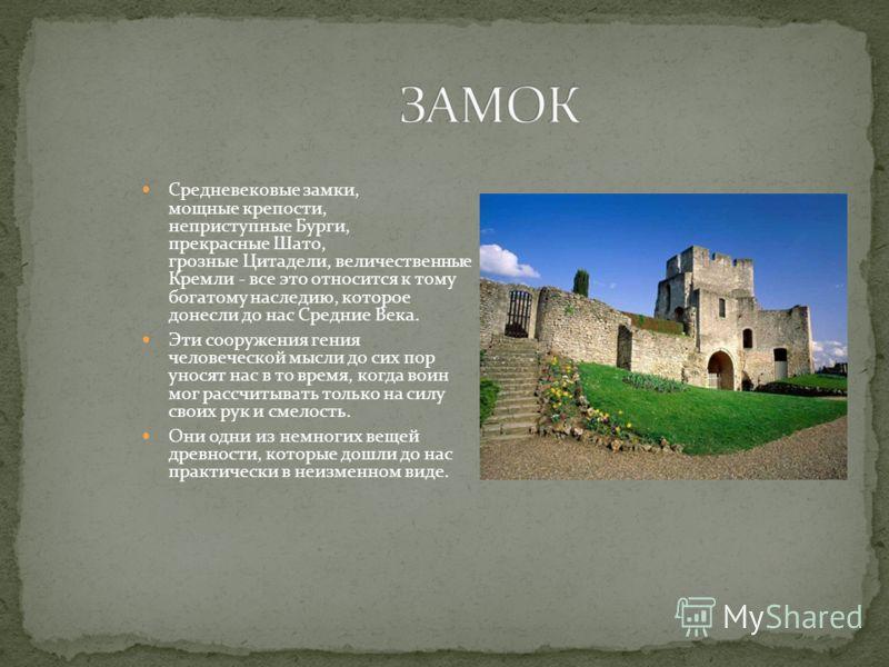 Замок здание (или комплекс зданий), сочетающие в себе жилые и оборонительно- фортификационные функции. В наиболее распространенном значении слова укреплённое жилище феодала в средневековой Европе. Большое количество замков сохранилось до наших дней и