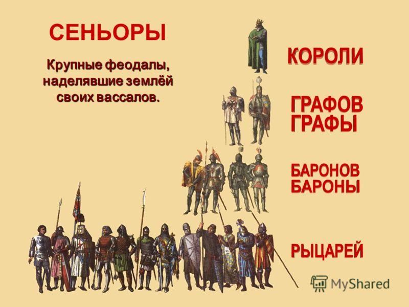 СЕНЬОРЫ Крупные феодалы, наделявшие землёй своих вассалов.