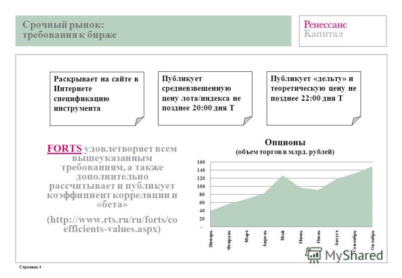 Срочный рынок: требования к бирже Страница 4 FORTS удовлетворяет всем вышеуказанным требованиям, а также дополнительно рассчитывает и публикует коэффициент корреляции и «бета» (http://www.rts.ru/ru/forts/co efficients-values.aspx) Публикует средневзв