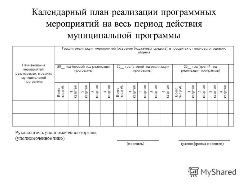 Календарный план реализации программных мероприятий на весь период действия муниципальной программы Наименование мероприятий, реализуемых в рамках муниципальной программы График реализации мероприятий (освоение бюджетных средств), в процентах от план