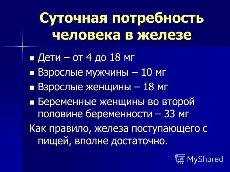Суточная потребность человека в железе Дети – от 4 до 18 мг Дети – от 4 до 18 мг Взрослые мужчины – 10 мг Взрослые мужчины – 10 мг Взрослые женщины – 18 мг Взрослые женщины – 18 мг Беременные женщины во второй половине беременности – 33 мг Беременные