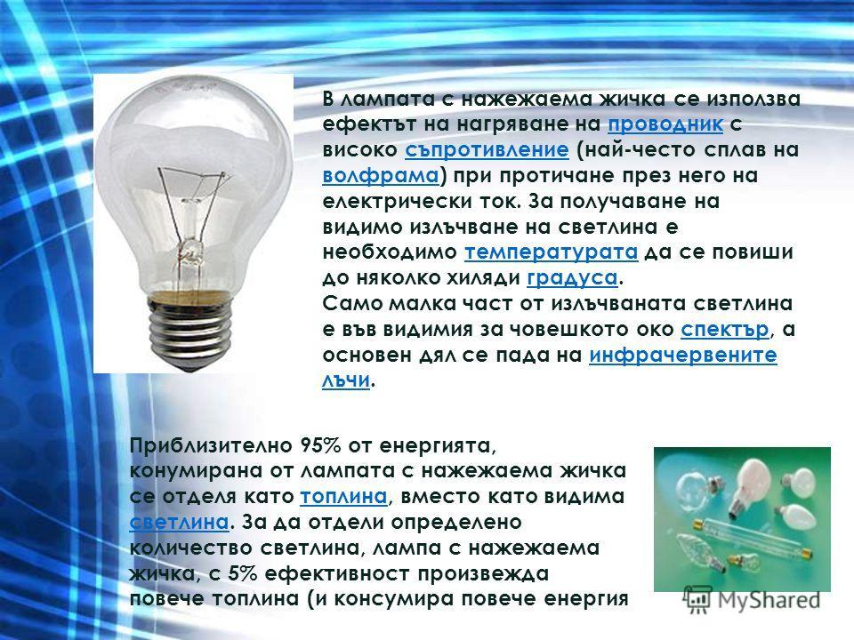 В лампата с нажежаема жичка се използва ефектът на нагряване на проводник с високо съпротивление (най-често сплав на волфрама) при протичане през него на електрически ток. За получаване на видимо излъчване на светлина е необходимо температурата да се