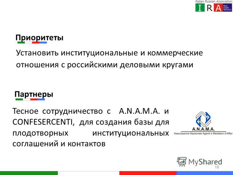 18 Установить институциональные и коммерческие отношения с российскими деловыми кругами Тесное сотрудничество с A.N.A.M.A. и CONFESERCENTI, для создания базы для плодотворных институциональных соглашений и контактов Партнеры Приоритеты