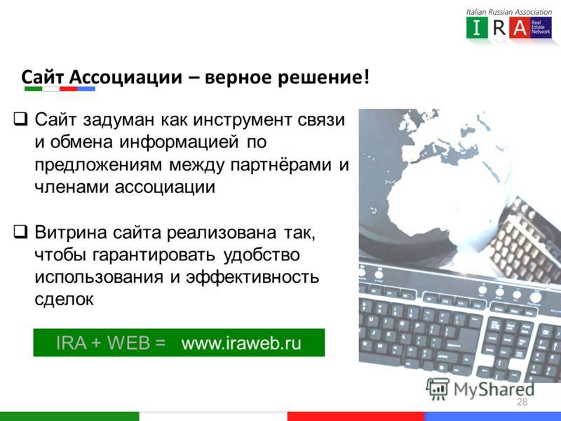 28 IRA + WEB = www.iraweb.ru Сайт задуман как инструмент связи и обмена информацией по предложениям между партнёрами и членами ассоциации Витрина сайта реализована так, чтобы гарантировать удобство использования и эффективность сделок Сайт Ассоциации