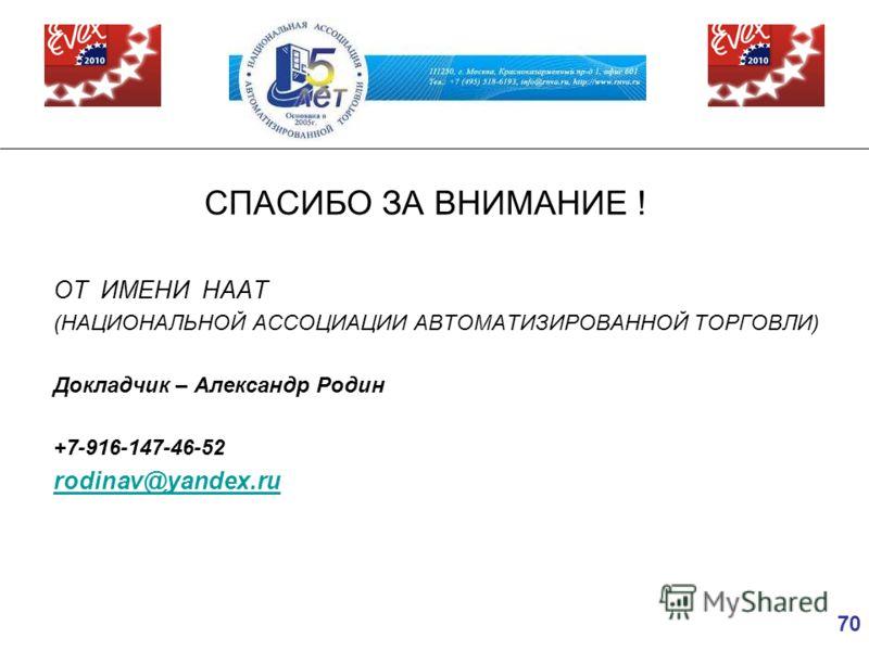 70 СПАСИБО ЗА ВНИМАНИЕ ! ОТ ИМЕНИ НААТ (НАЦИОНАЛЬНОЙ АССОЦИАЦИИ АВТОМАТИЗИРОВАННОЙ ТОРГОВЛИ) Докладчик – Александр Родин +7-916-147-46-52 rodinav@yandex.ru
