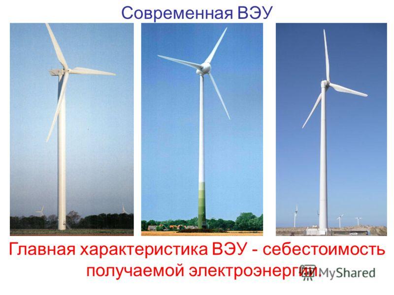 Современная ВЭУ Главная характеристика ВЭУ - себестоимость получаемой электроэнергии.