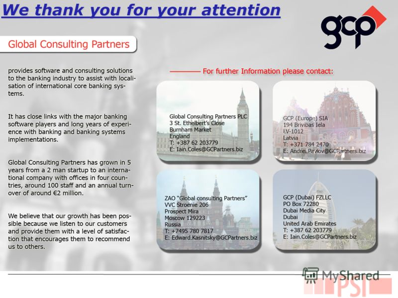 Value Propositions We thank you for your attention