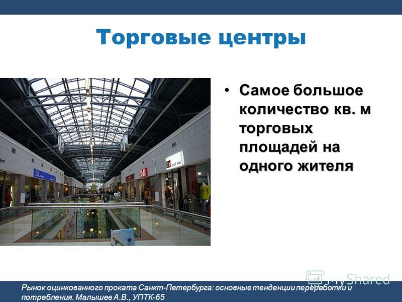 Торговые центры Рынок оцинкованного проката Санкт-Петербурга: основные тенденции переработки и потребления. Малышев А.В., УПТК-65 Самое большое количество кв. м торговых площадей на одного жителяСамое большое количество кв. м торговых площадей на одн