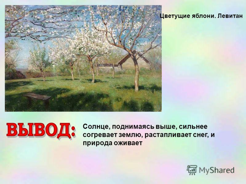 Цветущие яблони. Левитан Солнце, поднимаясь выше, сильнее согревает землю, растапливает снег, и природа оживает