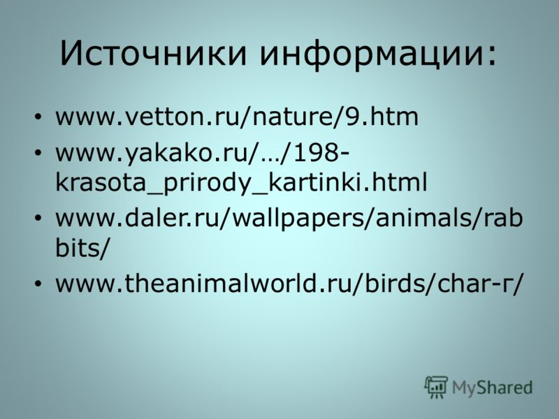 Источники информации: www.vetton.ru/nature/9.htm www.yakako.ru/…/198- krasota_prirody_kartinki.html www.daler.ru/wallpapers/animals/rab bits/ www.theanimalworld.ru/birds/char-г/