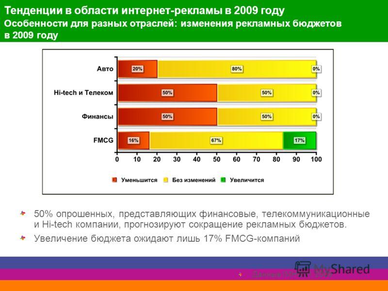 Особенности для разных отраслей: изменения рекламных бюджетов в 2009 году 50% опрошенных, представляющих финансовые, телекоммуникационные и Hi-tech компании, прогнозируют сокращение рекламных бюджетов. Увеличение бюджета ожидают лишь 17% FMCG-компани