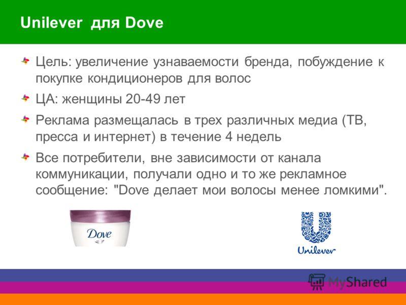 Unilever для Dove Цель: увеличение узнаваемости бренда, побуждение к покупке кондиционеров для волос ЦА: женщины 20-49 лет Реклама размещалась в трех различных медиа (ТВ, пресса и интернет) в течение 4 недель Все потребители, вне зависимости от канал