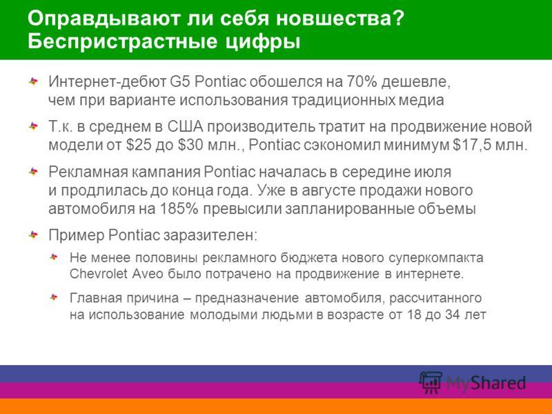 Оправдывают ли себя новшества? Беспристрастные цифры Интернет-дебют G5 Pontiac обошелся на 70% дешевле, чем при варианте использования традиционных медиа Т.к. в среднем в США производитель тратит на продвижение новой модели от $25 до $30 млн., Pontia