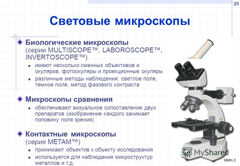 20 Световые микроскопы Биологические микроскопы (серии MULTISCOPE, LABOROSCOPE, INVERTOSCOPE) имеют несколько сменных объективов и окуляров, фотоокуляры и проекционные окуляры различные методы наблюдения: светлое поле, темное поле, метод фазового кон
