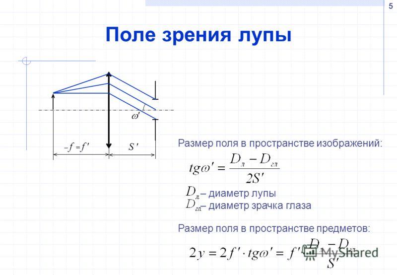 5 Поле зрения лупы S f = f Размер поля в пространстве предметов: Размер поля в пространстве изображений: – диаметр лупы – диаметр зрачка глаза