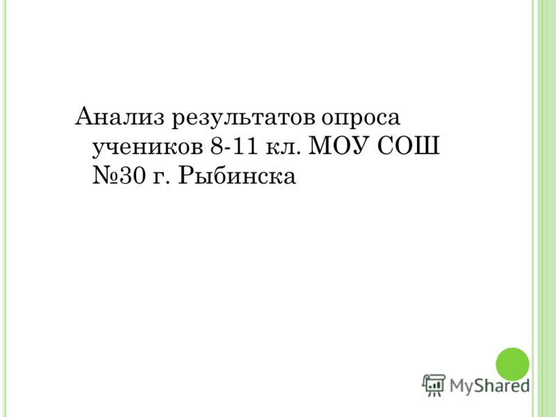 Анализ результатов опроса учеников 8-11 кл. МОУ СОШ 30 г. Рыбинска