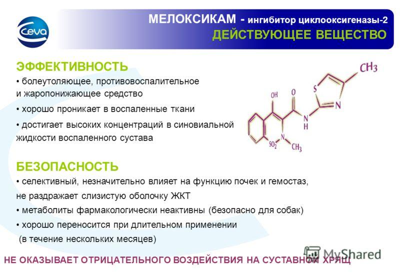МЕЛОКСИКАМ - ингибитор циклооксигеназы-2 ДЕЙСТВУЮЩЕЕ ВЕЩЕСТВО ЭФФЕКТИВНОСТЬ болеутоляющее, противовоспалительное и жаропонижающее средство хорошо проникает в воспаленные ткани достигает высоких концентраций в синовиальной жидкости воспаленного сустав
