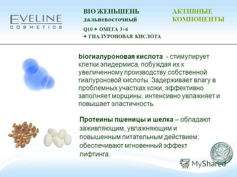 bioгиалуроновая кислота - стимулирует клетки эпидермиса, побуждая их к увеличенному производству собственной гиалуроновой кислоты. Задерживает влагу в проблемных участках кожи, эффективно заполняет морщины, интенсивно увлажняет и повышает эластичност