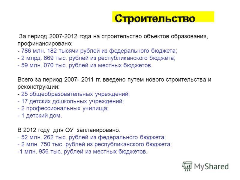 За период 2007-2012 года на строительство объектов образования, профинансировано: - 786 млн. 182 тысячи рублей из федерального бюджета; - 2 млрд. 669 тыс. рублей из республиканского бюджета; - 59 млн. 070 тыс. рублей из местных бюджетов. Всего за пер