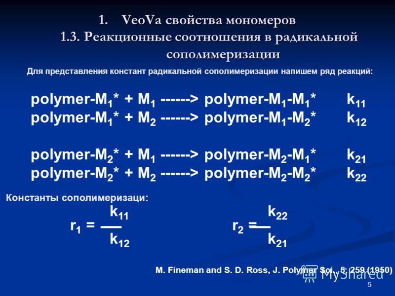 5 polymer-M 1 * + M 1 ------> polymer-M 1 -M 1 *k 11 polymer-M 1 * + M 2 ------> polymer-M 1 -M 2 *k 12 polymer-M 2 * + M 1 ------> polymer-M 2 -M 1 *k 21 polymer-M 2 * + M 2 ------> polymer-M 2 -M 2 *k 22 k 11 k 22 r 1 = r 2 = k 12 k 21 1.VeoVa свой