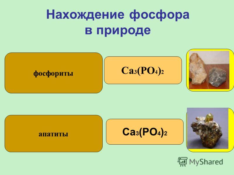 Нахождение фосфора в природе фосфориты апатиты Ca 3 (PO 4 ) 2