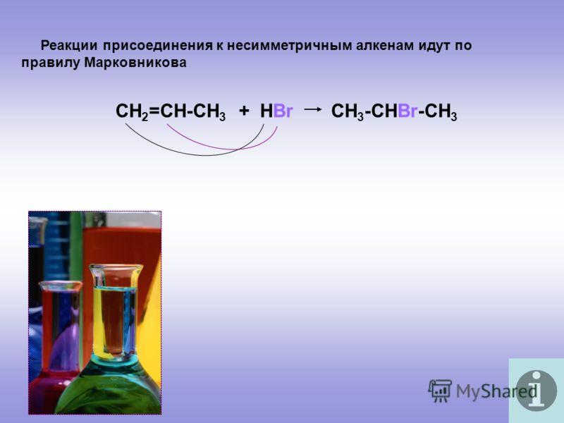 Реакции присоединения к несимметричным алкенам идут по правилу Марковникова СН 2 =СН-СН 3 + НВr CH 3 -CHBr-CH 3
